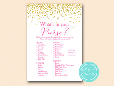 photograph relating to Bridal Shower Purse Game Free Printable identified as Sizzling Crimson and Gold Confetti Bridal Shower Game titles