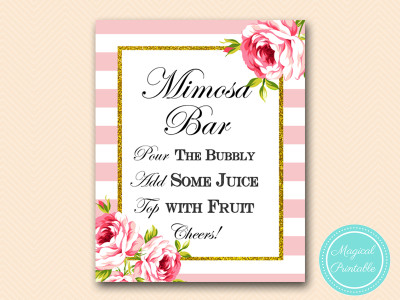 photograph about Mimosa Bar Sign Printable Free named Purple Stripes and Floral Printable Indicators - Marriage, Bridal, Boy or girl Shower - Magical Printable