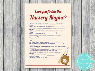 Vintage Baseball Baby Shower Games Magical Printable