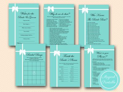Tiffany Theme Bridal Shower Games Pack Magical Printable