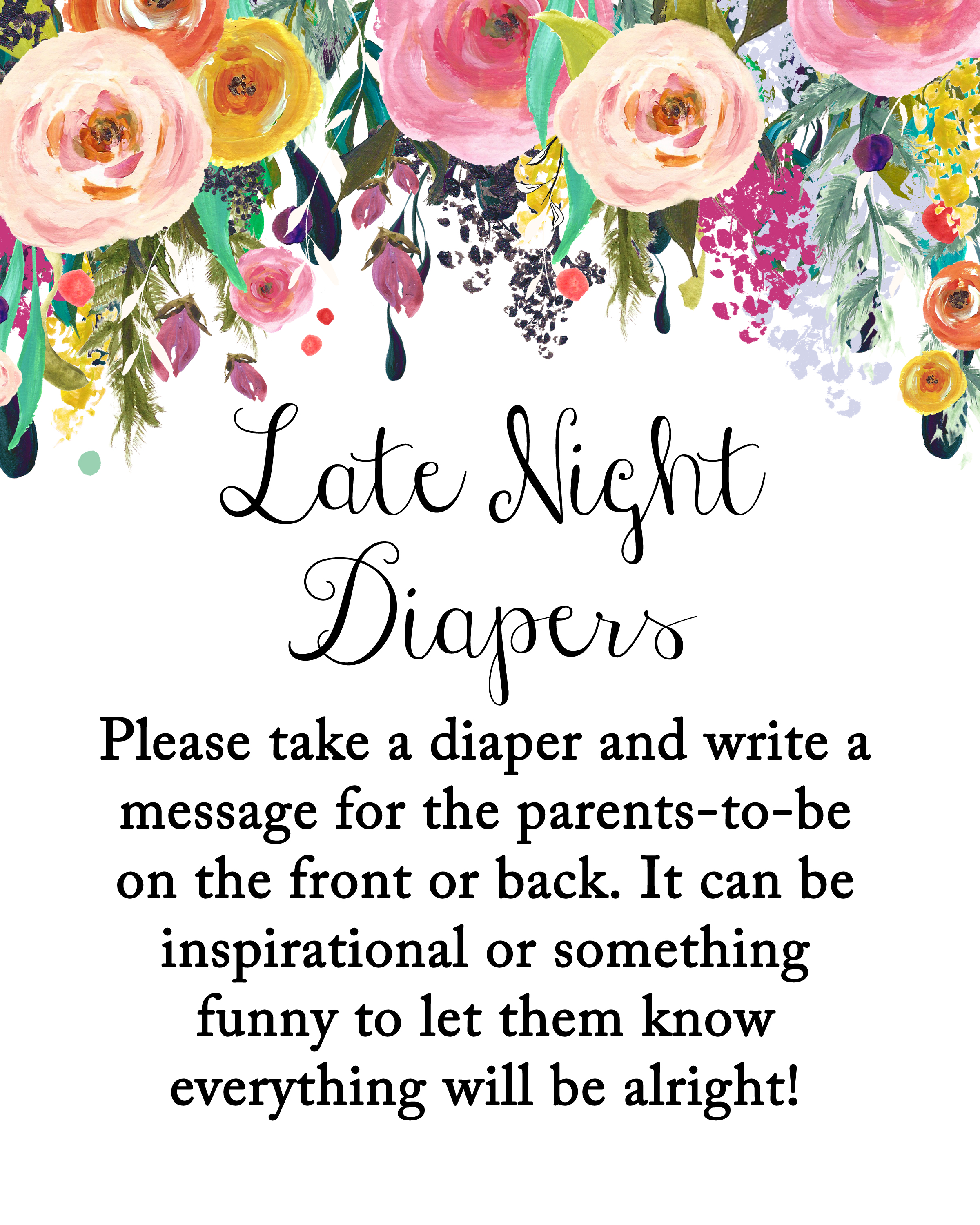 graphic relating to Late Night Diapers Printable known as late-evening-diapers-8x10 - Magical Printable