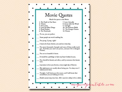 Free Bridal Shower Movie Game Magical Printable - Bridal shower game templates
