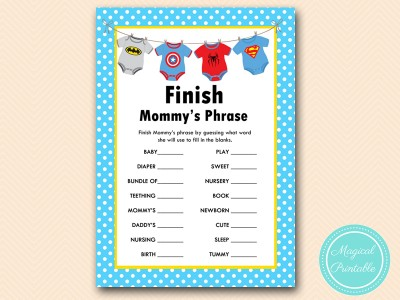 Superhero Baby Shower Game Pack - Magical Printable