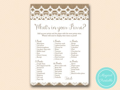 Burlap and Lace Bridal Shower Games - Magical Printable
