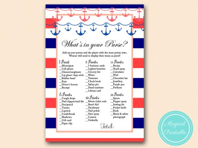 navy and coral nautical bridal shower games pack magical printable