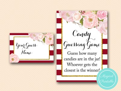 Burgundy Marsala Baby Shower Games - Magical Printable