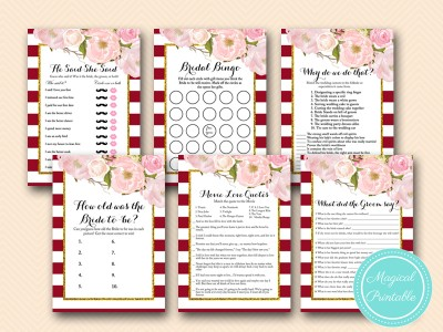 graphic about Bridal Shower Printable Games named Burgundy Marsala Bridal Shower Video games - Magical Printable