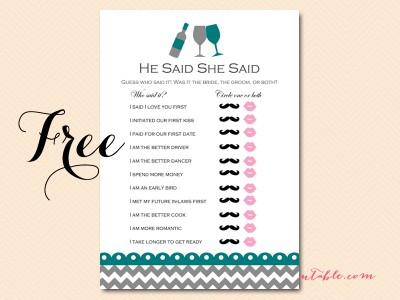 free he said she said bs102 teal bridal shower games wine