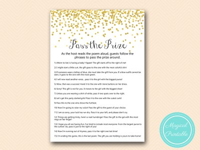 tlc148 pass the prize gold confetti baby shower game
