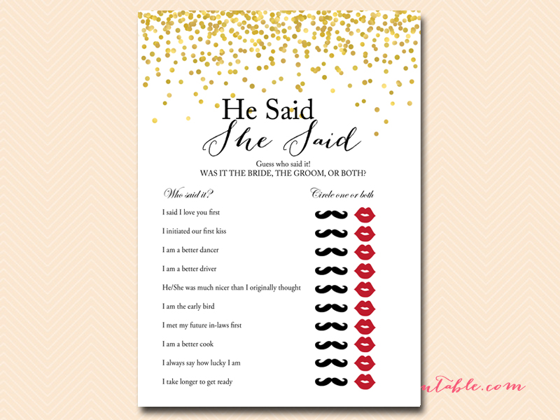 Gold foil confetti bridal shower game magical printable for He said she said bridal shower game template