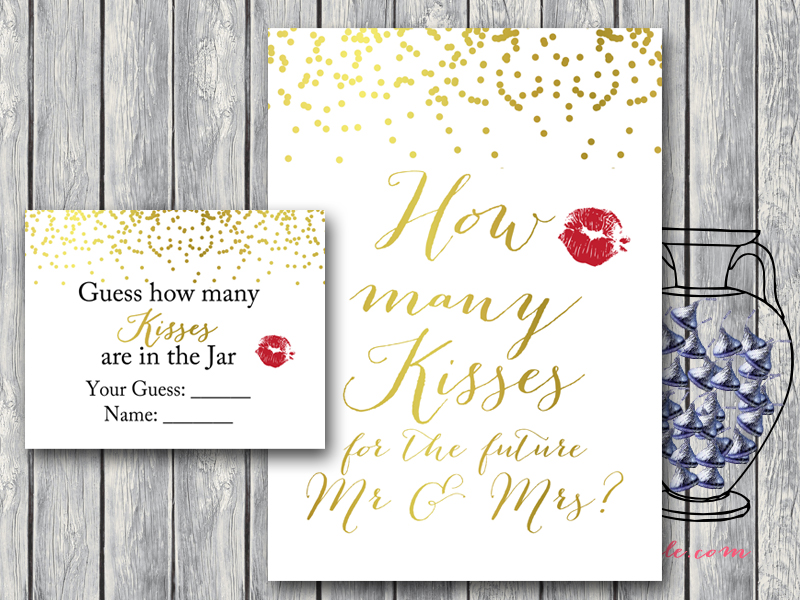 This is a photo of Astounding How Many Kisses for the Soon to Be Mrs Free Printable