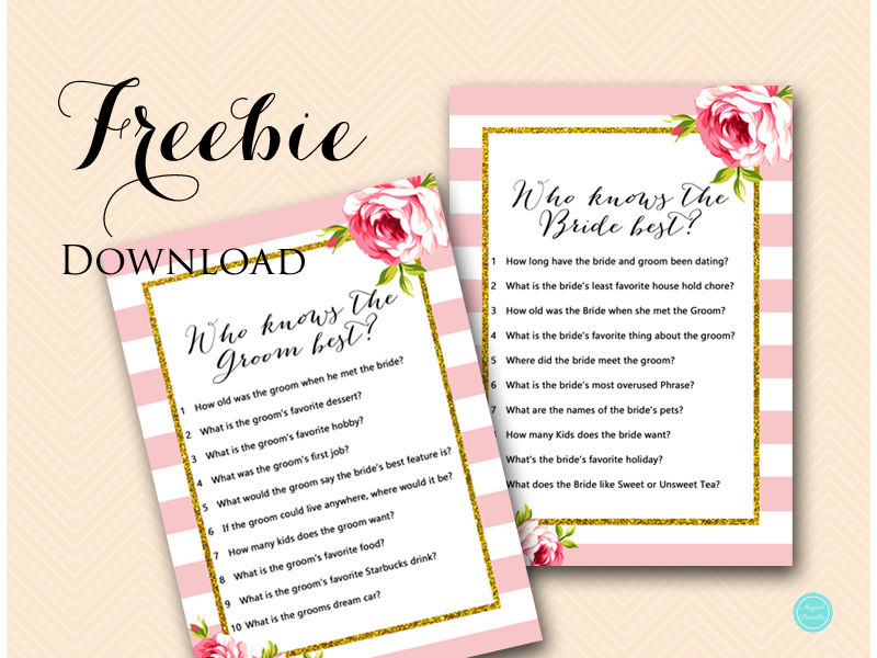 image regarding Bridal Shower Games Free Printable titled Free of charge Coed Bridal Shower Game titles - Who Is aware Bride Groom
