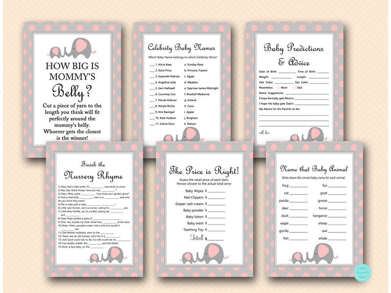 Elephant Baby Shower Games Bundle Instant Download Safari Babyshower Games Pink and White Name That Baby Animal Elephant Themed Emojis LPE