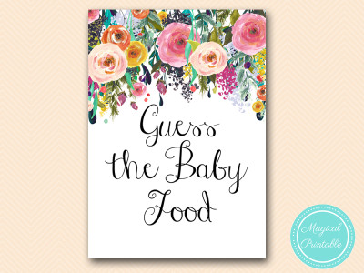 graphic relating to Baby Food Game Printable known as Shabby Stylish Youngster Shower Match Printable - Magical Printable