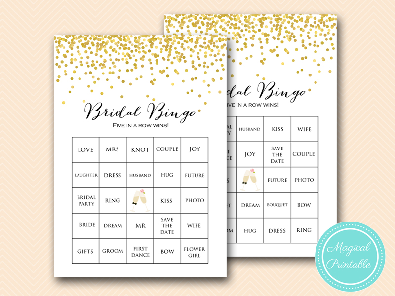 photo about Bridal Bingo Printable named Gold Bridal Shower Online games Bingo Prefilled - Magical Printable