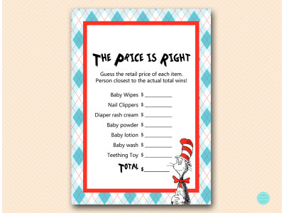 What's In Your Bag Bridal Shower Game Dr Seuss baby sh...