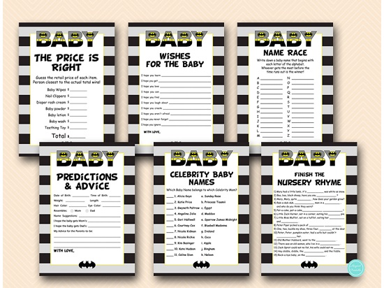 Batman Baby Shower Game Package - Magical Printable
