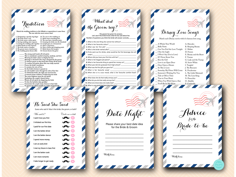 Travel Bridal Shower Game Package - Magical Printable