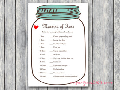 Rustic Mason Jars Bridal Shower Game Package