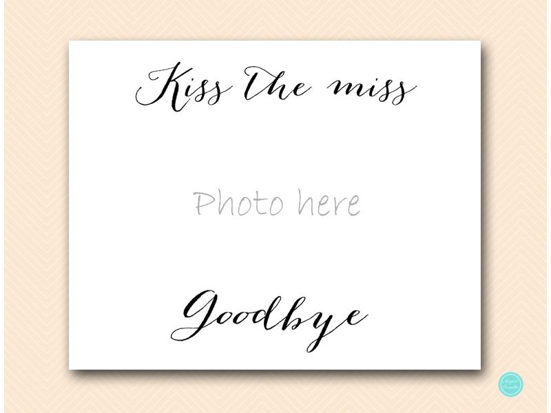 photograph regarding Kiss the Miss Goodbye Printable referred to as Kiss the Skip Goodbye Indicator Bridal shower, Bachelorette - Magical Printable
