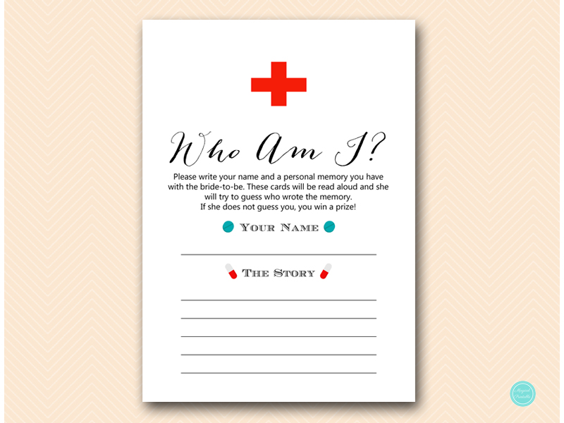 image about Bridal Shower Games Printable titled Medical doctor Nurse in direction of be Bridal Shower Sport - Magical Printable