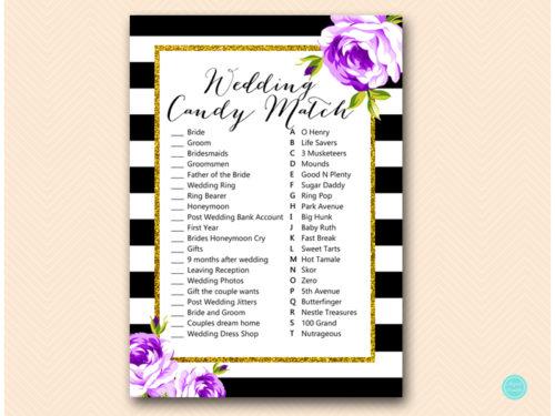 0ccb0dda1c965 Purple Bridal Shower Candy Bar Matching Game - Magical Printable