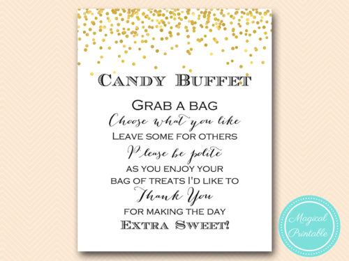 Gold Confetti Candy Buffet Sign Grab Treats Magical