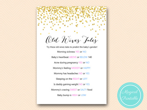 Gold Confetti Old Wives Tales Gender Prediction - Magical ...