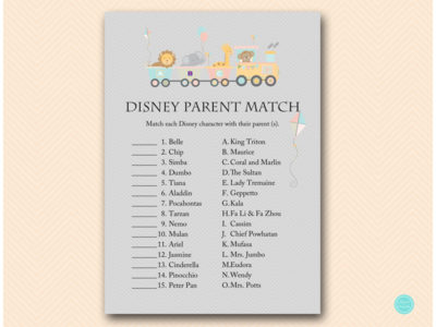 Animal Train Baby Shower Game Set Magical Printable