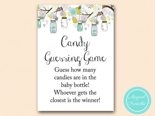 candy guessing game in jar rustic mason jars baby shower magical printable. Black Bedroom Furniture Sets. Home Design Ideas
