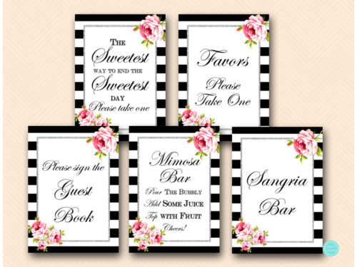 picture about Please Take One Sign Printable named Black Stripes Silver Decoration Indicators - Magical Printable