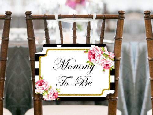 Black Stripes Gold Mommy To Be Chair Banner Magical