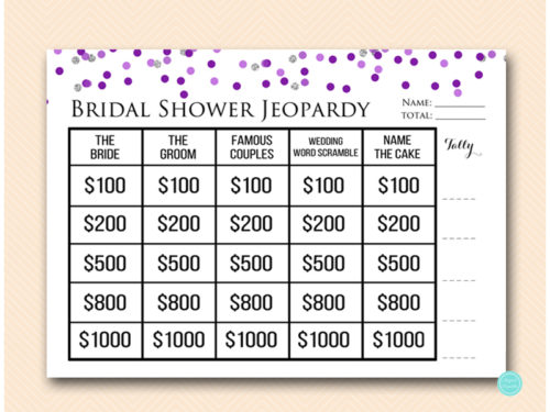 Purple Silver Jeopardy Bridal Shower Magical Printable