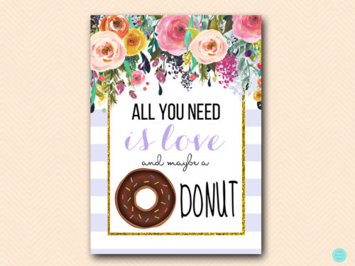 All You Need Is Love Wedding Invitations: Lavender All You Need Is Love And Donut Sign