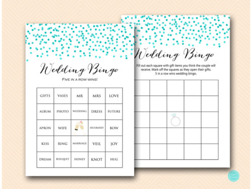 Tiffany Confetti Prefilled Couples Shower Bingo Cards ...