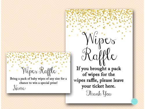 Gold Confetti Baby Wipes Raffle ticket and sign