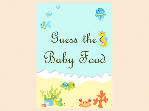 photograph regarding Guess the Baby Food Game Printable identify Less than the Sea Kid Food stuff Guessing Recreation - Magical Printable