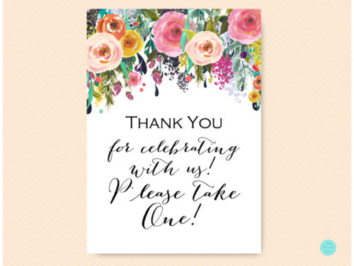 photograph relating to Free Printable Please Take One Sign named Cost-free Floral Back garden Favors remember to consider a single signal - Magical