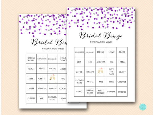 image about Bridal Bingo Printable called Prefilled Pink Silver Bridal Shower Bingo Playing cards