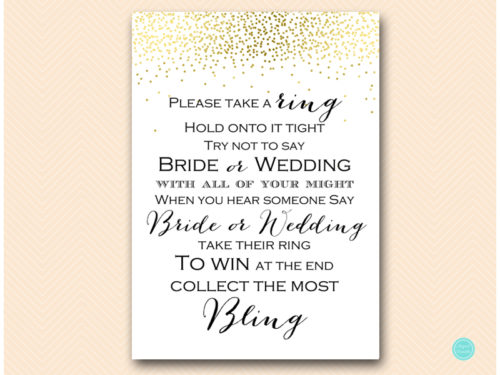 picture relating to Put a Ring on It Bridal Shower Game Free Printable referred to as Gold Dont Say Wedding day or Bride Video game - Magical Printable