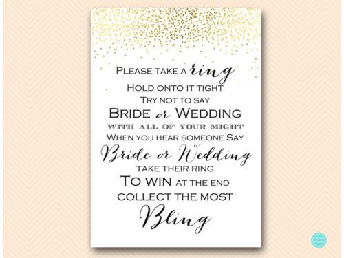 Wedding Game Free.Gold Don T Say Wedding Or Bride Game Magical Printable
