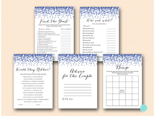 Wedding Shower Gift Ideas For Gay Couple : Navy Blue Gay Wedding Shower Games Pack - Magical Printable