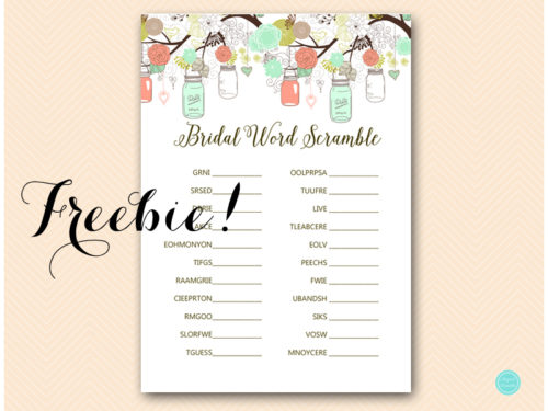 picture relating to Free Printable Bridal Shower Games Word Scramble identified as Totally free Mint and Coral Mason Jars Bridal Term Scramble Match