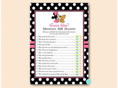 Minnie Mouse Baby Shower Games - Magical Printable