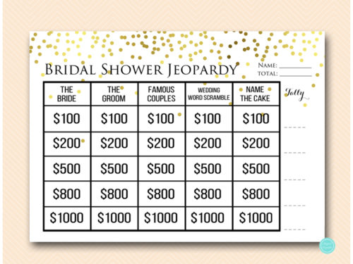 Gold Confetti Jeopardy Bridal Shower