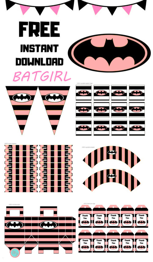 photo about Batgirl Logo Printable known as Totally free Red Batgirl Get together Printable - Batgirl Youngster Shower