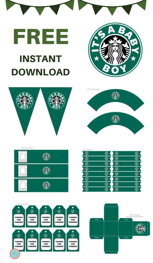 graphic about Starbucks Printable Application named Free of charge Its a Boy Starbucks Boy or girl Shower Printable - Magical