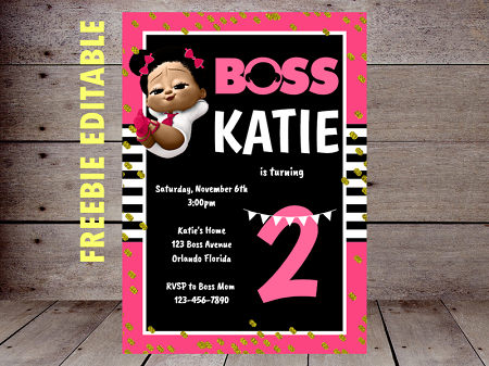 Free Boss Baby Girl Party Printable Instant Download